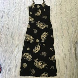 Dresses & Skirts - Black Slinky Maxi Dress With Dragons Size L